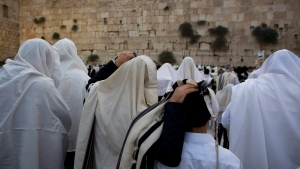 Covered in prayer shawls, Jewish men of the Cohanim Priestly caste participate in a blessing during the holiday of Sukkot, in front of the Western Wall, the holiest site where Jews can pray in Jerusalem's Old City, Wednesday, Sept. 30, 2015. (AP / Oded Balilty)