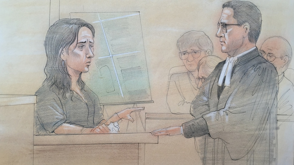 Tim Bosma's widow, Sharlene Bosma, testifies on the first day of the trial for Dellen Millard and Mark Smich, at John Sopinka Courthouse in Hamilton, Ont. on Monday, Feb. 1, 2016. (John Mantha / CTV News)