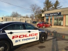 Police investigate after a robbery at a jewelry store in St. Thomas, Ont. on Monday, Feb. 1, 2016. (Chuck Dickson / CTV London)