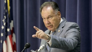 Orange County District Attorney Tony Rackauckas speaks on the arrest of three escaped inmates at a news conference in Santa Ana, Calif., Monday, Feb. 1, 2016. (AP / Nick Ut)