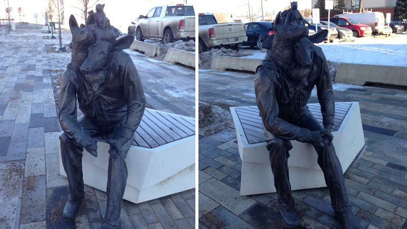One of two sculptures as part of Wild Life by Toronto  artist Brandon Vickerd, seen on 96 St. north of Jasper Ave.