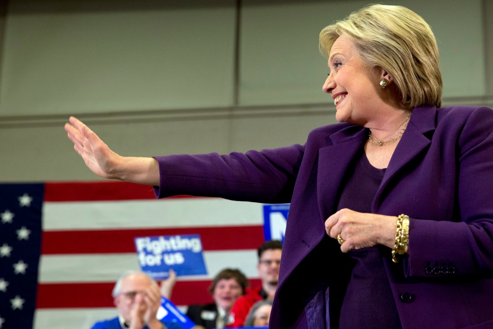 Democratic presidential candidate Hillary Clinton waves at supporters as she arrives for an event in Hampton, N.H., Tuesday, Feb. 2, 2016, Clinton's first day in New Hampshire after winning the Iowa Caucus. (AP / Jacquelyn Martin)