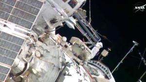 Cosmonauts Yuri Malenchenko and Sergey Volkov conduct a spacewalk aboard the ISS, Wednesday, Feb. 3, 2016.
