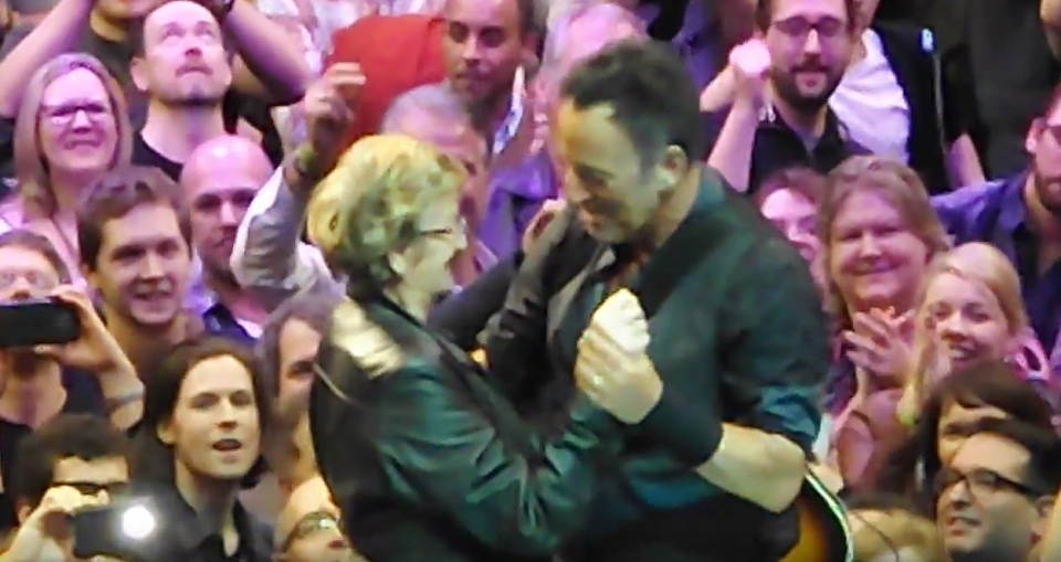 Bruce Springsteen dances with 88-year-old Evelyn Raftery during his concert at Air Canada Centre in Toronto on Feb. 2, 2016. (YouTube / truenorth1968)