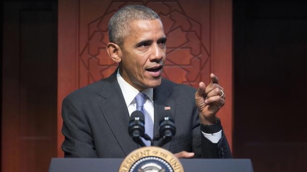 U.S. President Barack Obama at the Islamic Society of Baltimore, on Feb. 3, 2016. (Pablo Martinez Monsivais / AP)
