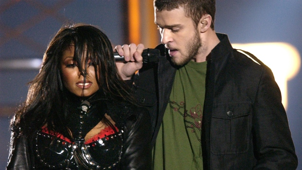 Singers Justin Timberlake and Janet Jackson are seen during their performance at the 2004 Super Bowl, on Feb. 1, 2004. (AP Photo/David Phillip, file)