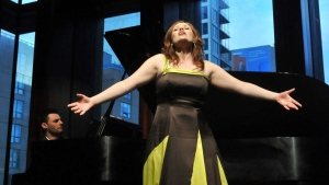 Soprano Jennifer Taverner singing Mozart Unlaced at the Glenn Gould School with Ben Cruchley (Photo by Nicola Betts)