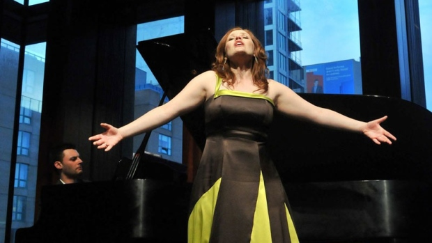 Soprano Jennifer Taverner singing Mozart Unlaced at the Glenn Gould School with Ben Cruchley (Photo by Nicola Betts)