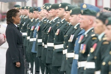 Governor General of Canada Micha�lle Jean talks with Pte. Dereck Theriault while she inspects the troops from Canadian Forces base Gagetown in front of the New Brunswick Legislature in Fredericton, NB, Tuesday, May 15, 2007. (CP PHOTO/The Daily Gleaner - Stephen MacGillivray)