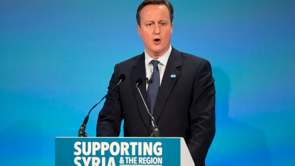 British Prime Minister David Cameron speaks during the co-hosts press conference near the end of the 'Supporting Syria and the Region' conference at the Queen Elizabeth II Conference Centre in London, Thursday, Feb. 4, 2016. (AP / Matt Dunham)