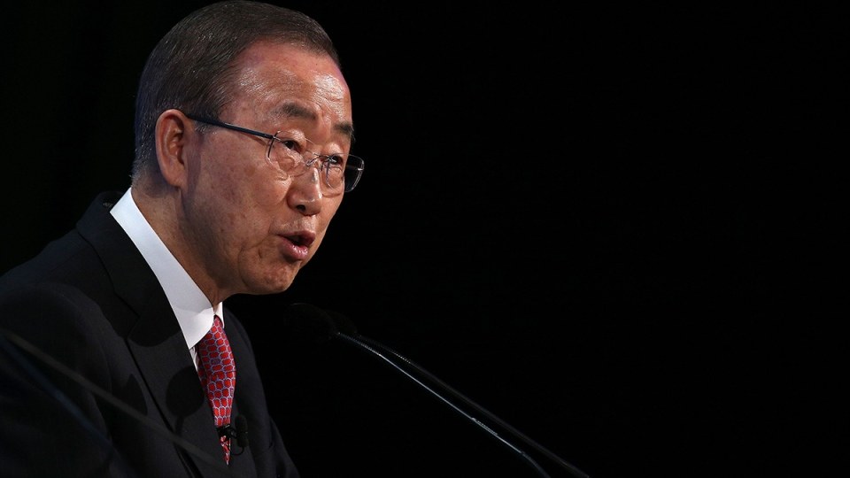 United Nations Secretary General Ban Ki-moon addresses delegates during the fourth 'Thermatic Pledging Session', in London, Thursday, Feb. 4, 2016, during the donor conference 'Supporting Syria & The Region'. (Dan Kitwood, Pool Photo via AP)