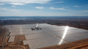Aerial view of the solar plant of Ouarzazate, central Morocco, on Thursday, Feb.4, 2016. (AP Photo/Abdeljalil Bounhar)