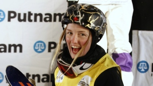 Canadian, Justine Dufour-Lapointe celebrates her win in the women's moguls during the World Cup freestyle skiing competition in Deer Valley, Utah on Thursday, Feb. 4, 2016. (AP / George Frey)