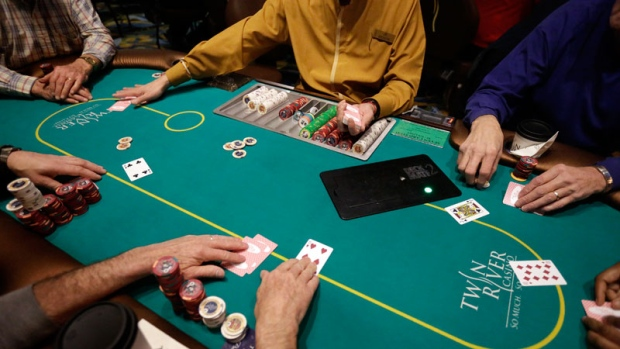 A game of poker at Twin River Casino