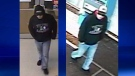 Two images of a suspect sought in an attempted robbery in London, Ont. on Wednesday, Feb. 3, 2016 were released by London police.