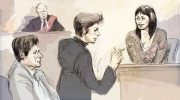 In this courtroom sketch, witness Lucy DeCoutere, right, is cross-examined by defence lawyer Marie Henein, centre, as Jian Ghomeshi, bottom left, and Justice William Horkins listen in court in Toronto on Friday, Feb. 5, 2016 (Alexandra Newbould / THE CANADIAN PRESS).