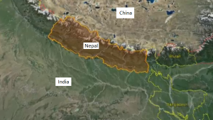 A map of Nepal is seen here.