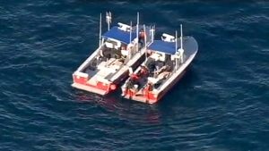 In this still frame from video provided by KABC-TV, divers aboard two rescue boats search for wreckage from two small planes that collided in midair and plunged into the ocean off of Los Angeles harbor Friday, Feb. 5, 2016. (KABC-TV via AP)