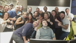 This photo, taken after Eduard Paraschivescu fell asleep at work, has turned the Concordia student into an Internet star.