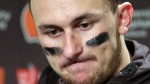 In this Dec. 20, 2015, file photo, Cleveland Browns quarterback Johnny Manziel speaks with media members following the team's 30-13 loss to the Seattle Seahawks in an NFL football game in Seattle. (AP Photo / Scott Eklund, File)