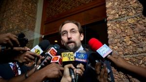 UN High Commissioner for Human Rights Zeid Raad al-Hussein, speaks to media as he leaves a hotel in Colombo, Sri Lanka, Saturday, Feb. 6, 2016. (AP / Eranga Jayawardena)