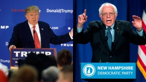 Republican Candidate Donald Trump (AP/Steven Senne) and Democrat Candidate Bernie Sanders (AP/Matt Rourke) are seen in this composite image.