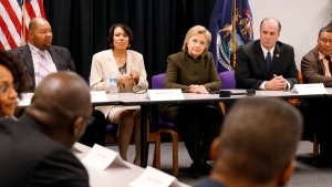 Democratic presidential candidate Hillary Clinton meets with officials at the House Of Prayer Missionary Baptist Church, Sunday, Feb. 7, 2016 in Flint, Mich. (AP Photo / Paul Sancya)
