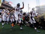 Denver Broncos' Virgil Green (85) runs onto the field before the NFL Super Bowl 50 football game Sunday, Feb. 7, 2016, in Santa Clara, Calif. (AP / Jeff Chiu)