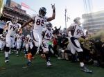 Denver Broncos' Virgil Green (85) runs onto the field before the NFL Super Bowl 50 football game Sunday, Feb. 7, 2016, in Santa Clara, Calif. (AP / Jeff Chiu)