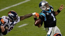Von Miller strips the ball from Cam Newton