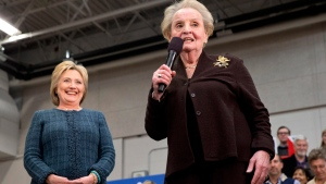 Madeleine Albright introduces Hillary Clinton in Concord, N.H., on Feb. 6, 2016. (Jacquelyn Martin / AP)