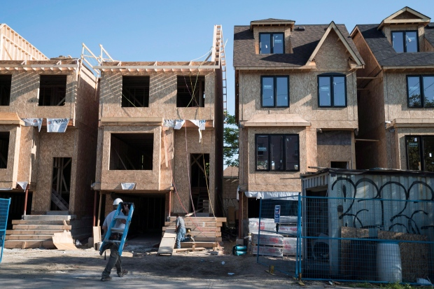 Houses under construction in Toronto