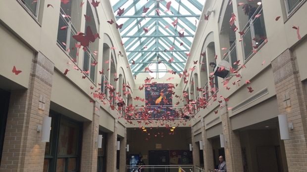 Red butterflies represent missing, murdered women