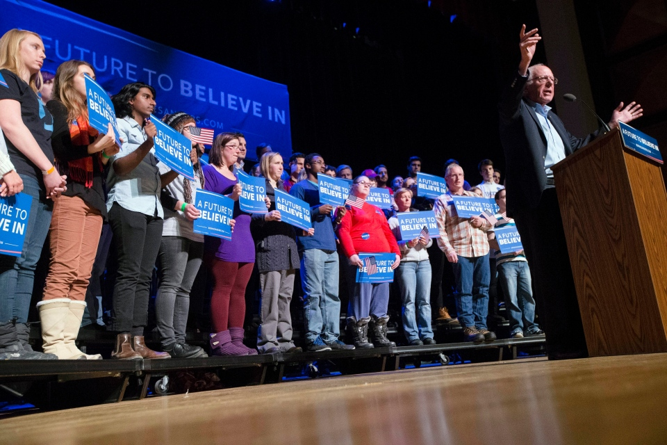 Democratic presidential candidate Sen. Bernie Sanders, I-Vt., speaks during a campaign stop at the Pinkerton Academy Stockbridge Theatre, Monday, Feb. 8, 2016, in Derry, N.H. (AP / John Minchillo)