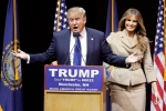 Republican presidential candidate, businessman Donald Trump introduces his wife Melania during a campaign rally Monday, Feb. 8, 2016, in Manchester, N.H. (AP / David Goldman)