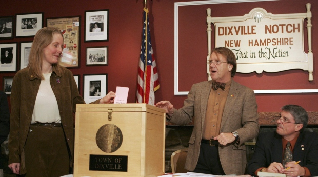 In this Jan. 8, 2008 file photo, Tom Tillotson, right, announces midnight as Donna Kaye Erwin gets to cast the first ballot for the nation's presidential primary in Dixville Notch, N.H. (Jim Cole / AP Photo)