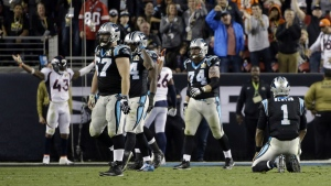 Carolina Panthers' Cam Newton sits on the field after he fumbled the ball during the second half of the NFL Super Bowl 50 football game in Santa Clara, Calif. on Sunday, Feb. 7, 2016. (AP / Julie Jacobson)