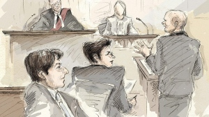 Jian Ghomeshi (left to right), Justice William Horkins, defence lawyer Marie Henein, the third complainant and Crown attorney Michael Callaghan appear at Ghomeshi's sexual assault trial in Toronto, Monday, Feb.8, 2016. (Alexandra Newbould / THE CANADIAN PRESS)