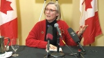 Indigenous Affairs Minister Carolyn Bennett speaks after meeting with the families of missing and murdered aboriginal women, in Winnipeg, Monday, Feb. 8, 2016.