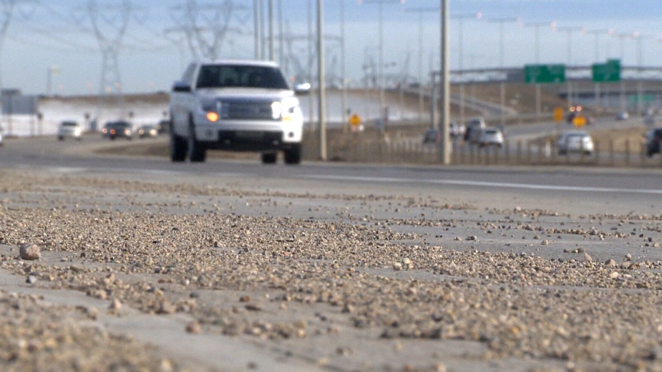 Gravel on the side of Edmonton's Anthony Henday Drive.