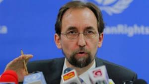 United Nations High Commissioner for Human Rights Zeid Ra'ad al-Hussein addresses the media in Colombo, Sri Lanka, Tuesday, Feb. 9, 2016. (AP / Eranga Jayawardena)