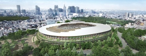 This file artist rendering provided by the Japan Sports Council shows the design of the main stadium for the 2020 Tokyo Olympics proposed by Japanese architect Kengo Kuma and construction companies, announced on Dec. 22, 2015 by the Sports Council. (The Japan Sports Council via AP)