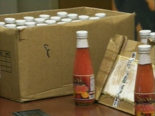 Durham Regional Police display the cocaine seized in the raid, during a press conference, Tuesday, Dec. 23, 2008.
