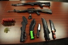 Weapons seized from a property on Gramercy Park Place in London, Ont. on Tuesday, Feb. 9, 2016 are seen in this image released by the London Police Service.
