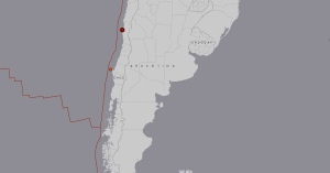 This map from the U.S. Geological Survey shows the location of an earthquake in central Chile, on Tuesday, Feb. 9, 2016.