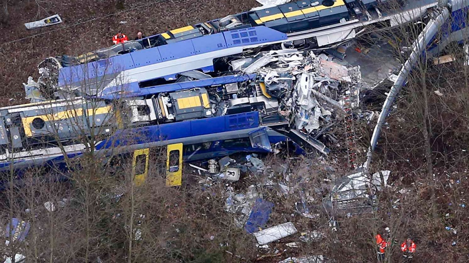 Aerial view of rescue teams at the site where two trains collided head-on near Bad Aibling, Germany, Tuesday, Feb. 9, 2016. (AP / Matthias Schrader)