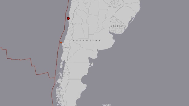 Earthquake map of central Chile