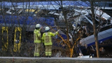 Rescue workers at scene of German train crash