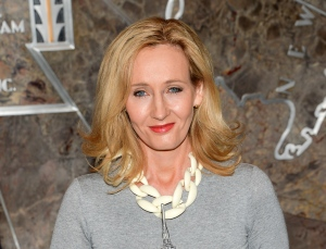"In this April 9, 2015 file photo, ""Harry Potter"" author J.K. Rowling lights the Empire State Building to mark the launch of her non-profit children's organization Lumos, in New York. (Evan Agostini/Invision/AP)"