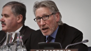 Roger Waters, founding member of Pink Floyd, delivers a report during a meeting on Palestine at the UN, on Thursday, Nov. 29, 2012. (AP Photo/Bebeto Matthews)